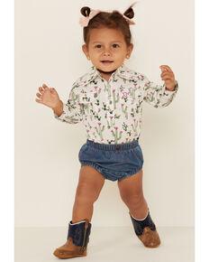 Wrangler Infant Girls' Denim Diaper Cover , Blue, hi-res