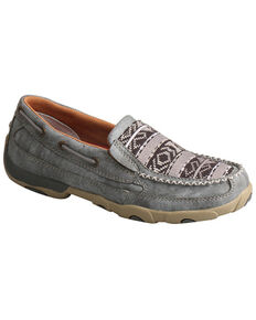 Twisted X Women's Slip-On Driving Moccasin Shoes - Moc Toe, Grey, hi-res