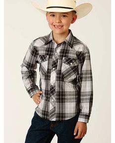 Roper Boys' Classic Black Plaid Long Sleeve Snap Western Shirt , Black, hi-res