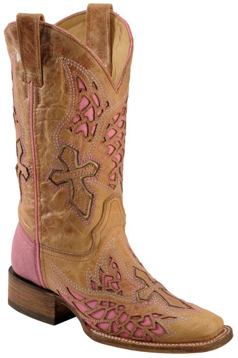 Corral Pink Wing & Cross Inlay Cowgirl Boots - Square Toe, Antique Saddle, hi-res