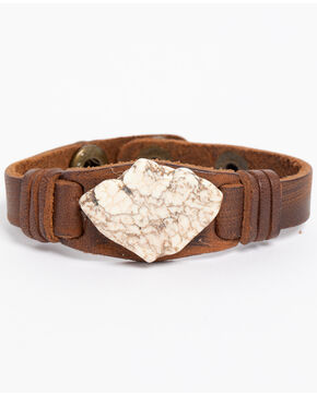 Jewelry Junkie Women's White Turquoise Chunk Leather Cuff , White, hi-res