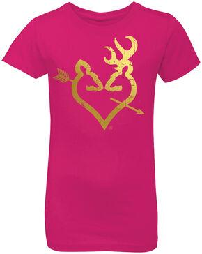 Browning Girls' Hot Pink Foil Buckheart Short Sleeve Tee, Hot Pink, hi-res