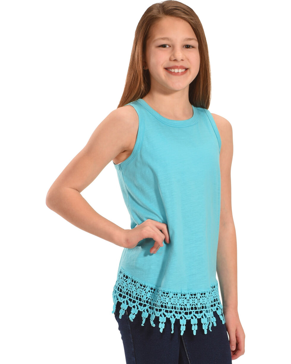 Silver Girls' Sea Lace Hem Tank, Light Green, hi-res
