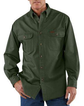 Carhartt Sandstone Twill Work Shirt - Big & Tall, Moss, hi-res