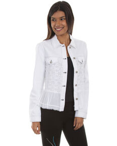 Scully Women's Georgette Ruffle Denim Jacket, White, hi-res