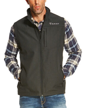 Ariat Men's Black Vernon Soft Shell Grid Vest , Black, hi-res