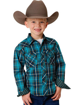 Roper Boys' Blue Performance Plaid Shirt , Blue, hi-res