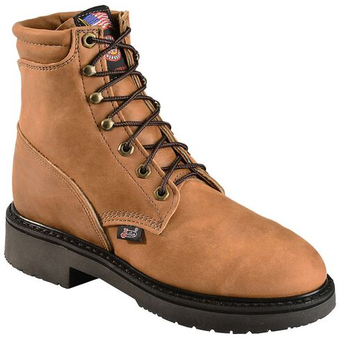 "Justin Women's 6"" Lace-up Logger Boots - Steel Toe, Brown, hi-res"