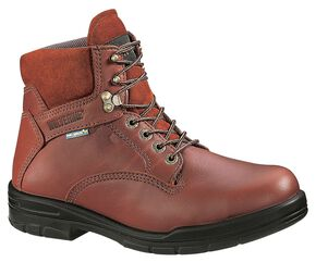 "Wolverine 6"" Durashocks Lace-Up Work Boots - Steel Toe, Brown, hi-res"