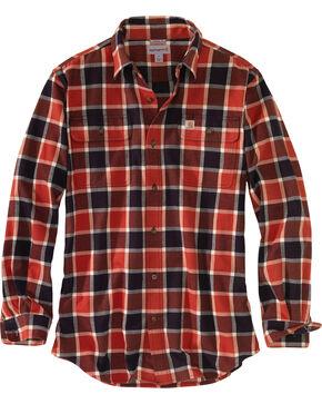 Carhartt Men's Hubbard Plaid Flannel Work Shirt - Tall, Chilli, hi-res