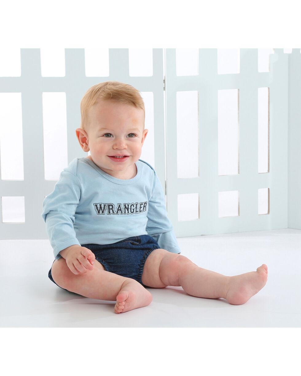 Wrangler Infant Boys' Blue Western Logo Onesie , Blue, hi-res