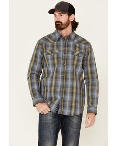 Moonshine Spirit Men's Greenwich Large Dobby Plaid Long Sleeve Western Shirt , Medium Blue, hi-res