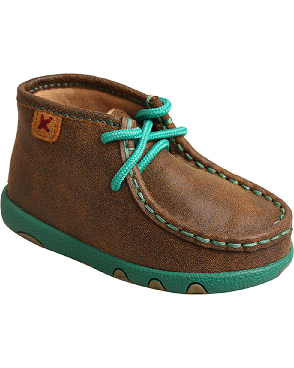 Twisted X Infant Turquoise Bomber Driving Mocs, Brown, hi-res