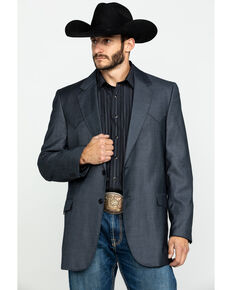 Cripple Creek Men's Grey Solid Window Pane Houston Sport Coat - Big , Grey, hi-res
