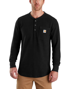 Carhartt Men's Tilden Long-Sleeve Henley Tee , Black, hi-res