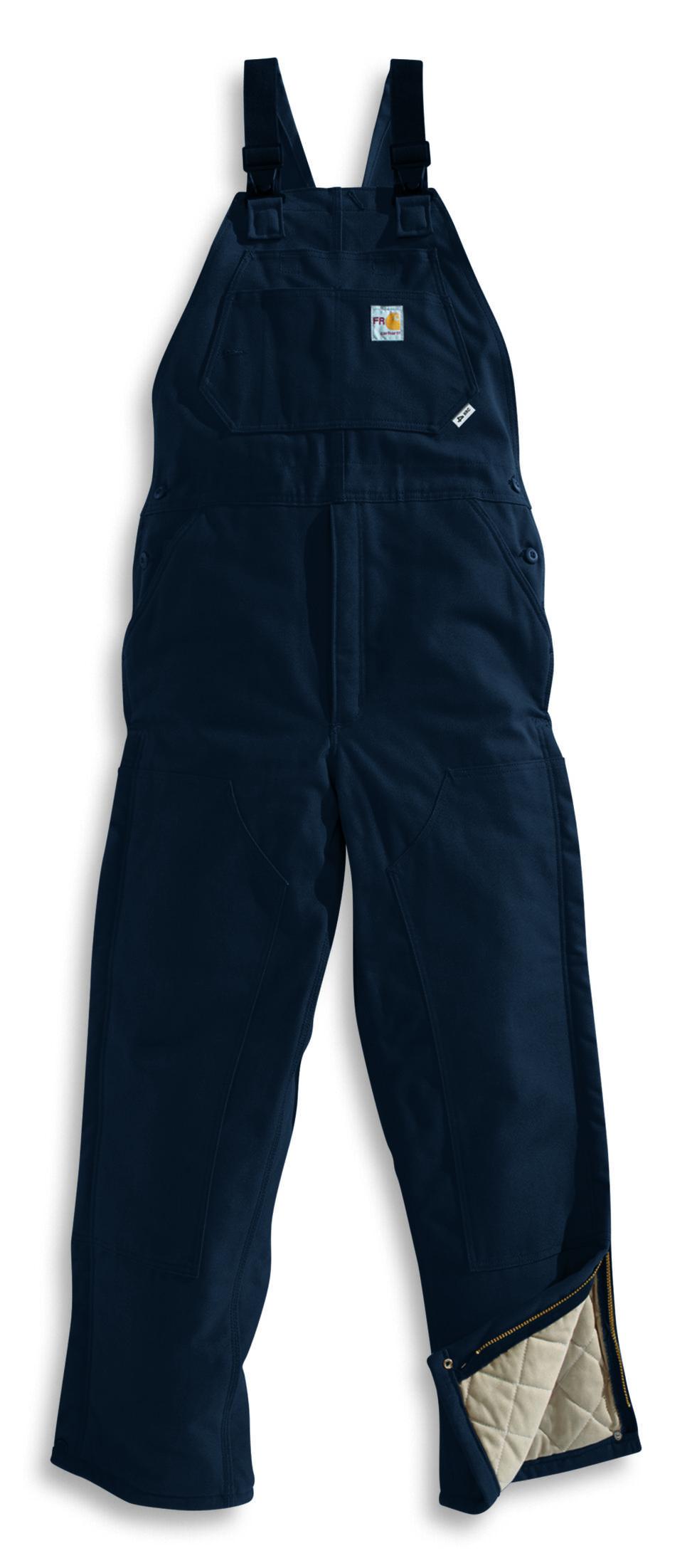 Carhartt Men's Flame-Resistant Duck Quilt-Lined Bib Overalls - Big & Tall, Navy, hi-res