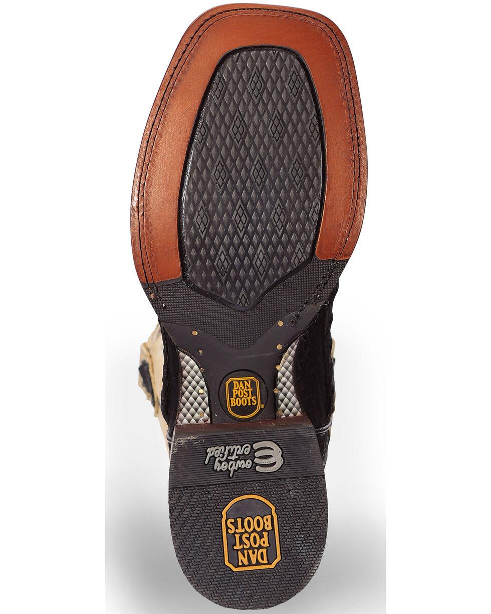 Dan Post Denver Caiman Cowboy Boots - Wide Square Toe, Black, hi-res