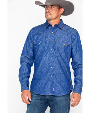 Wrangler Retro Men's Floral Long Sleeve Western Shirt, Blue, hi-res