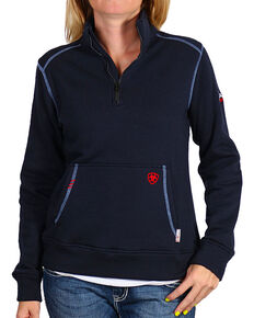 Ariat Women's Flame Resistant Polartec Fleece Sweatshirt, Navy, hi-res