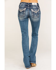 "Miss Me Women's Embellished Silver Border Chloe 32"" Bootcut Jeans, Blue, hi-res"