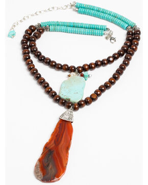 Lost & Found Women's Beaded Turquoise & Agate Slab Necklace, Turquoise, hi-res