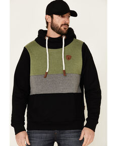 Wanakome Men's Black Colorblock Hermes Hooded Sweatshirt , Black, hi-res