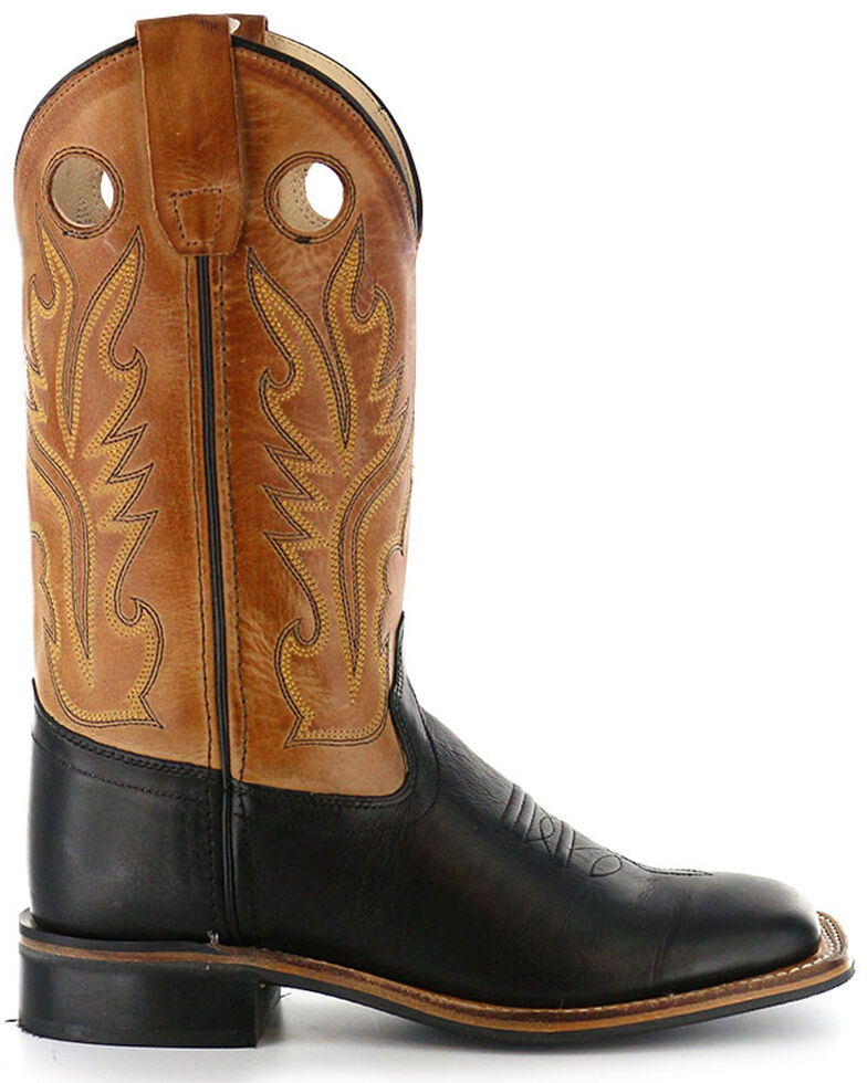 Old West Boys' Black Canyon Tan Cowboy Boots - Square Toe, Black, hi-res