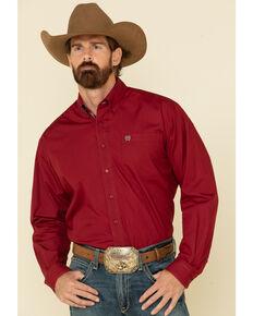 Cinch Men's Burgundy Solid Button Long Sleeve Western Shirt , Burgundy, hi-res