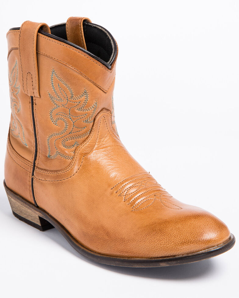 Dingo Willie Short Cowgirl Boots - Round Toe, Tan, hi-res