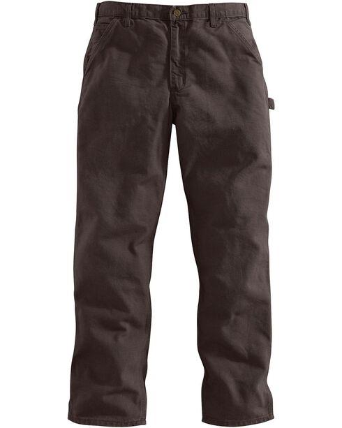 Carhartt Dark Brown Washed Duck Dungaree Work Pants, Dark Brown, hi-res
