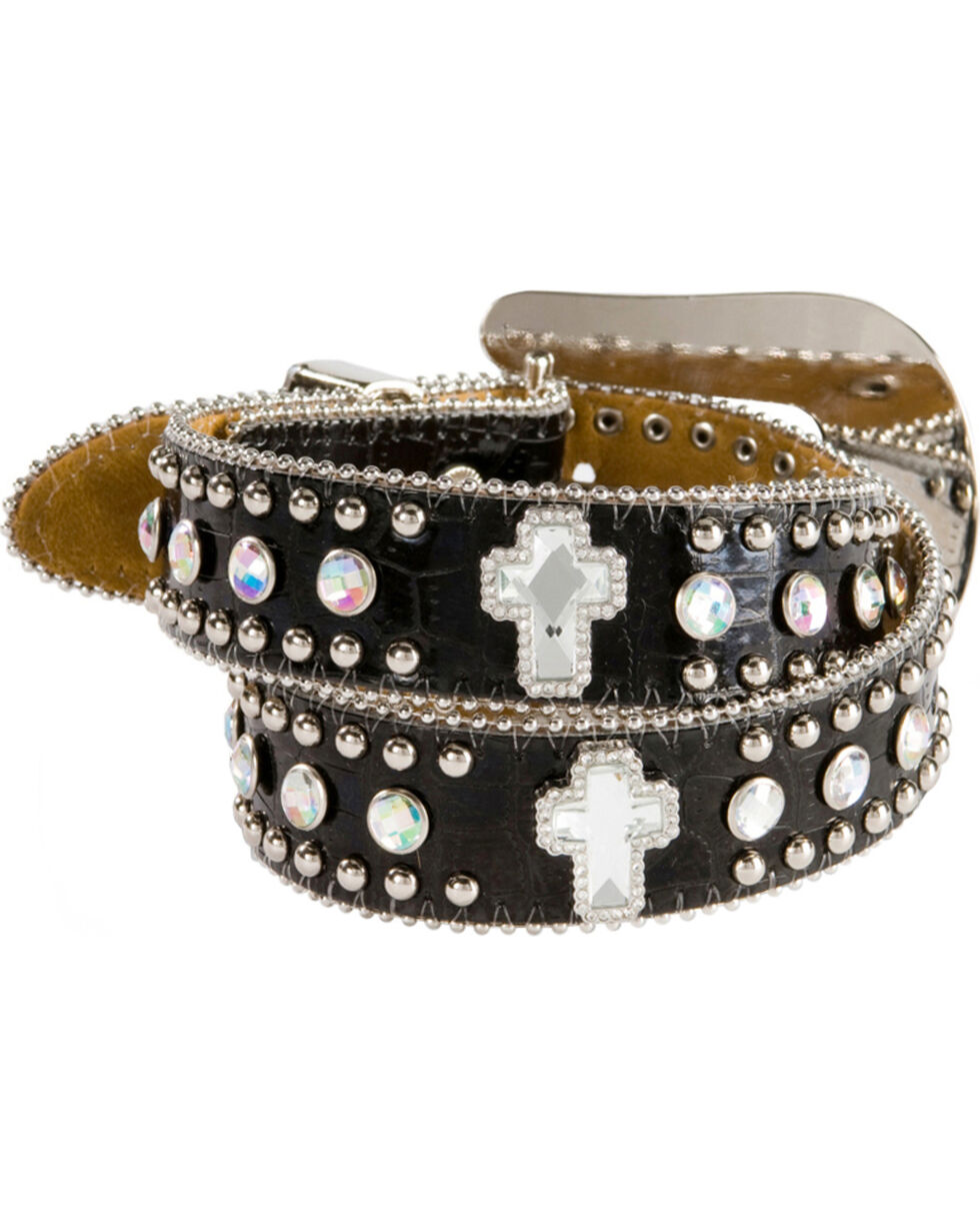 Nocona Girls' Rhinestone Cross Croc Print Leather Belt - 18-26, Black, hi-res