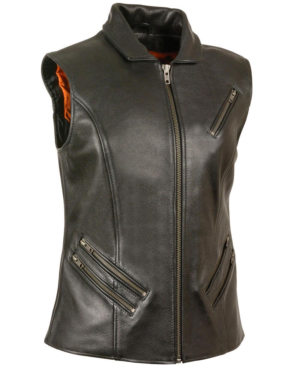 Milwaukee Leather Women's Extra Long Zipper Front Vest - 3X, Black, hi-res