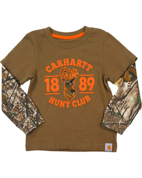 Carhartt Toddler Boys' Brown Hunt Club Layered T-Shirt , Brown, hi-res