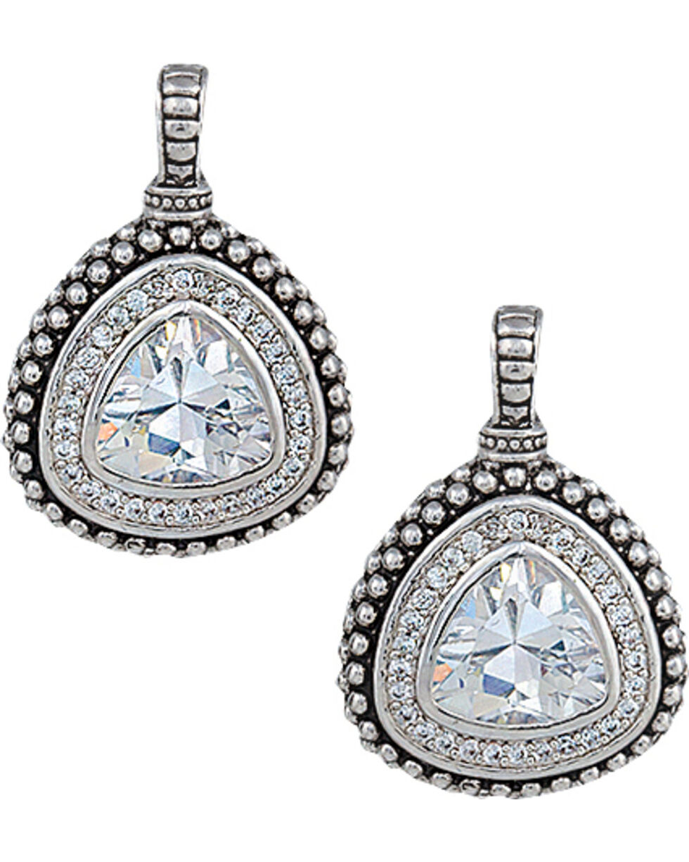 Montana Silversmiths Women's Western Drop Rounded Triangle Earrings, Silver, hi-res
