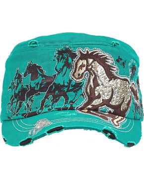 Western Express Women's Teal Vintage Running Horse Rhinestone Cadet Cap, Turquoise, hi-res