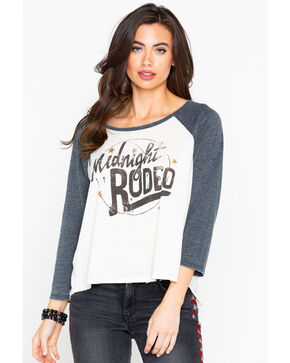 Shyanne Women's Midnight Rodeo Graphic Baseball Long Sleeve Tee, Tan, hi-res