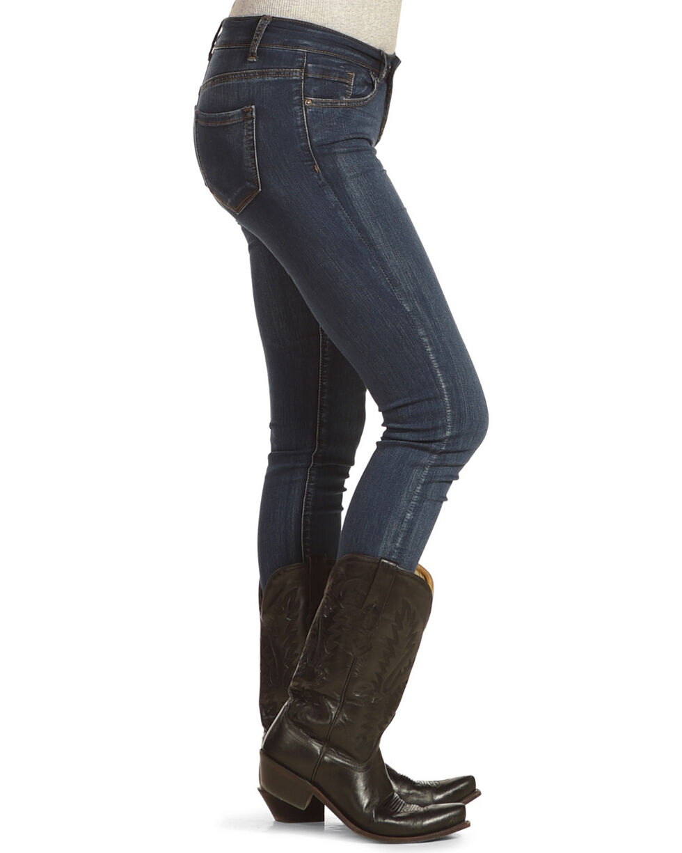 Angel Premium Women's Hand Brushed Stretch Jeans - Skinny, Indigo, hi-res