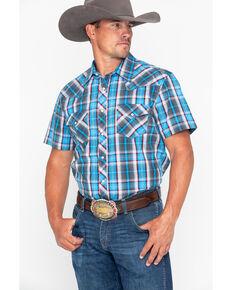 12b111349b9 Rock   Roll Cowboy Mens Crinkle Plaid Snap Short Sleeve Western Shirt