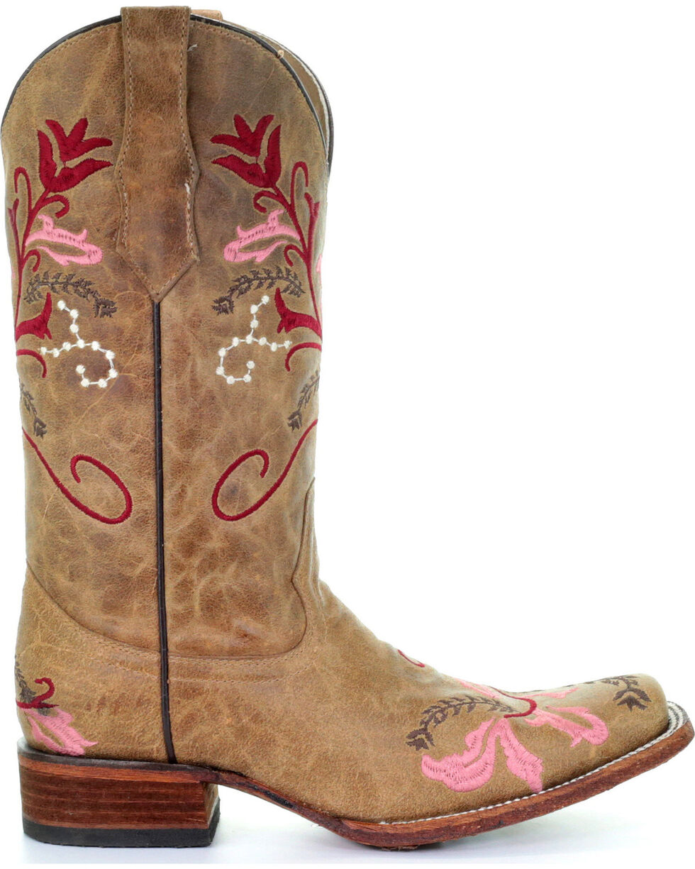 Circle G Women's Red & Pink Embroidered Cowgirl Boots - Square Toe , Honey, hi-res