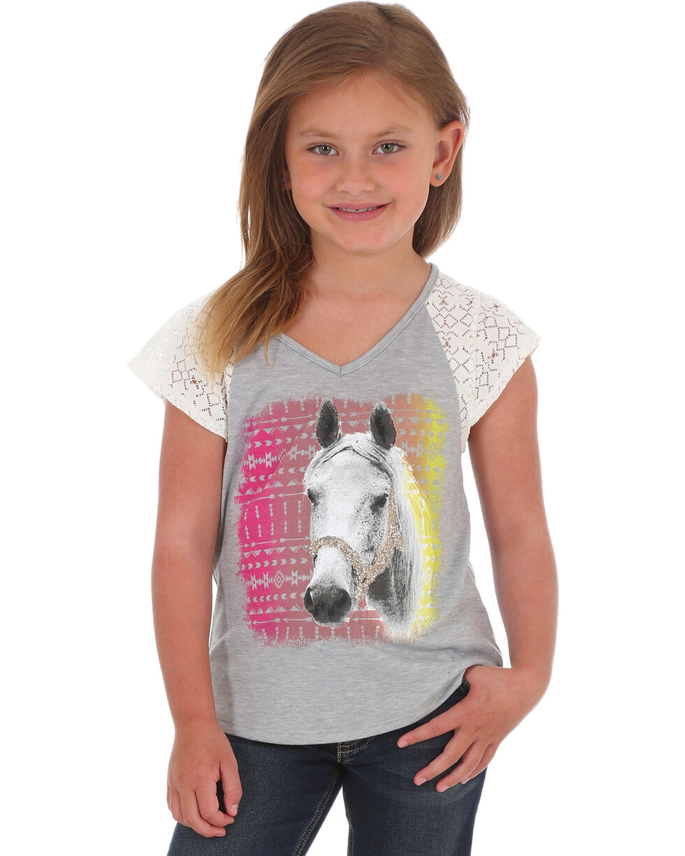 Wrangler Girls' Short Sleeve Horse Graphic Tee, Grey, hi-res