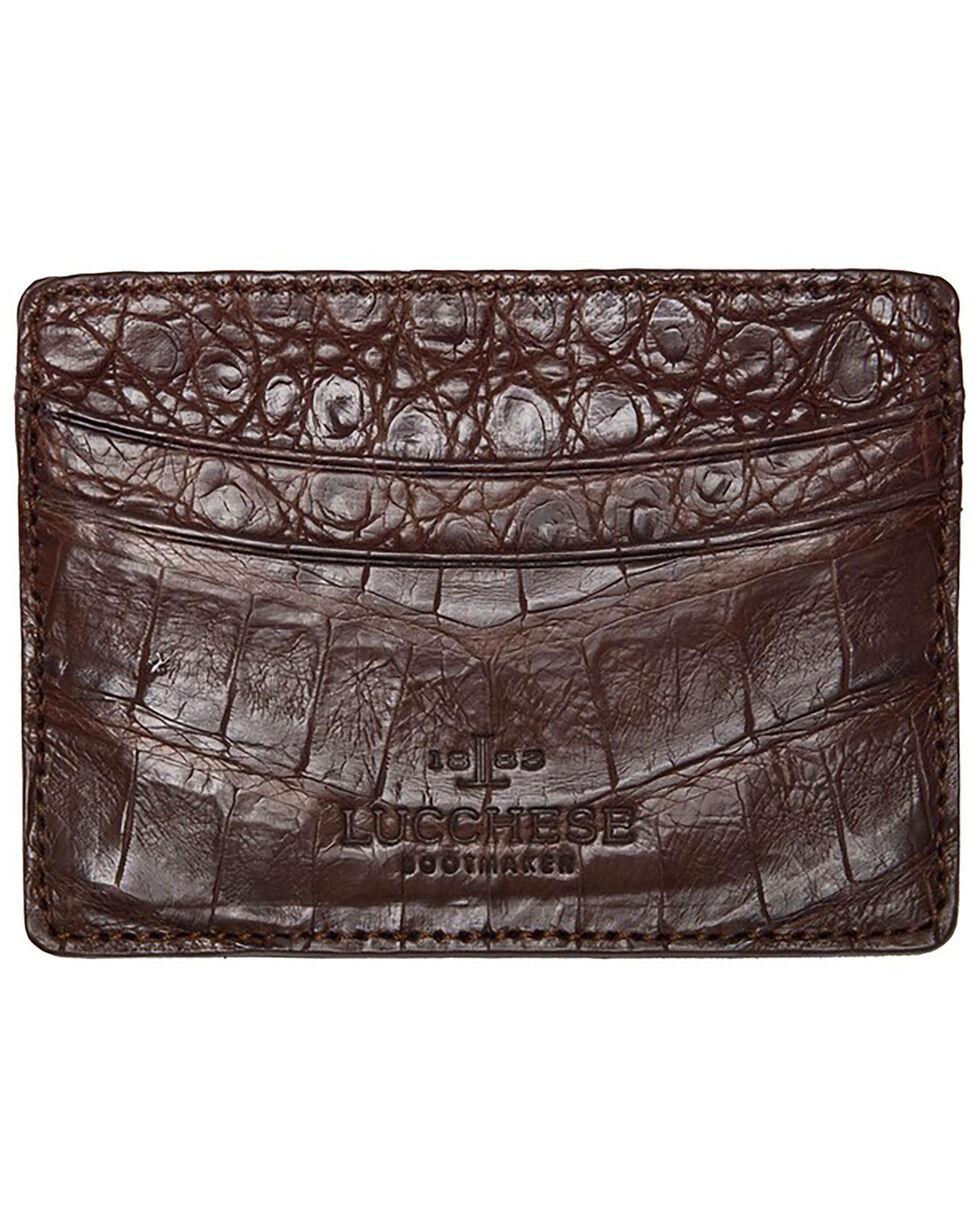 Lucchese Men's Sienna Crocodile Credit Card Case, Brown, hi-res