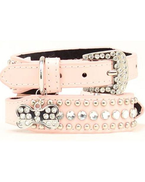 Blazin Roxx Blush Studs & Stones Dog Collar - S-XL, Pink, hi-res