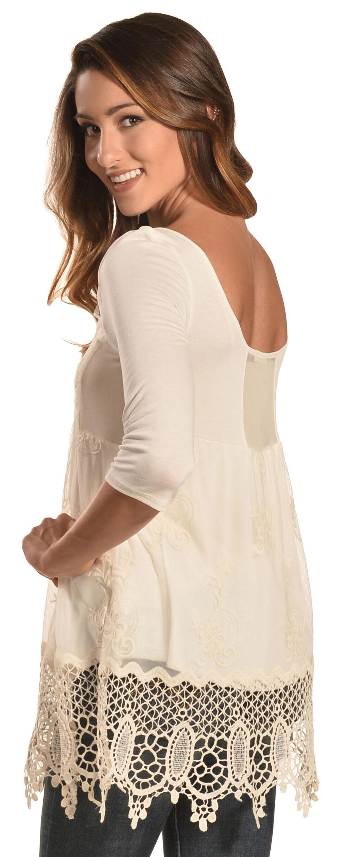 Petrol Women's White Lace Trim Tee, White, hi-res