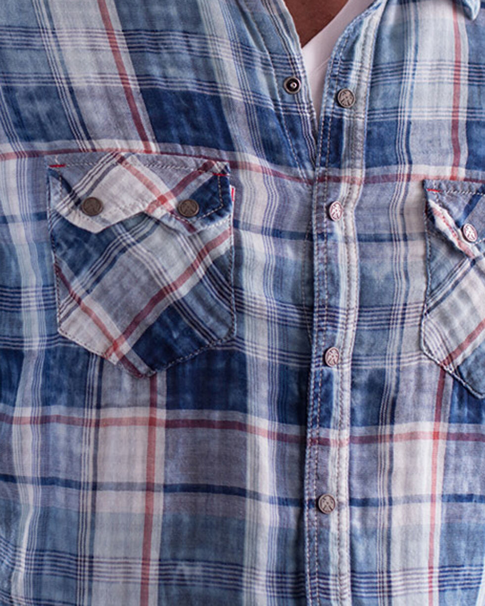 Ryan Michael Men's Double Face Indigo Plaid Shirt, Indigo, hi-res