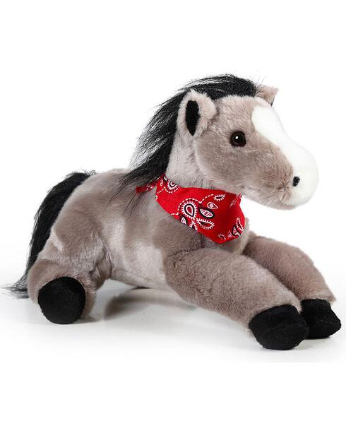 """Aurora 12"""" Flopsie Bandana Stuffed Horse, Grey, hi-res"""