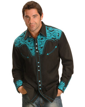 Scully Men's Turquoise Gunfighter Western Shirt , Turquoise, hi-res