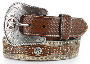 Nocona Men's Hair-on-Hide Star Concho Belt, Tan, hi-res