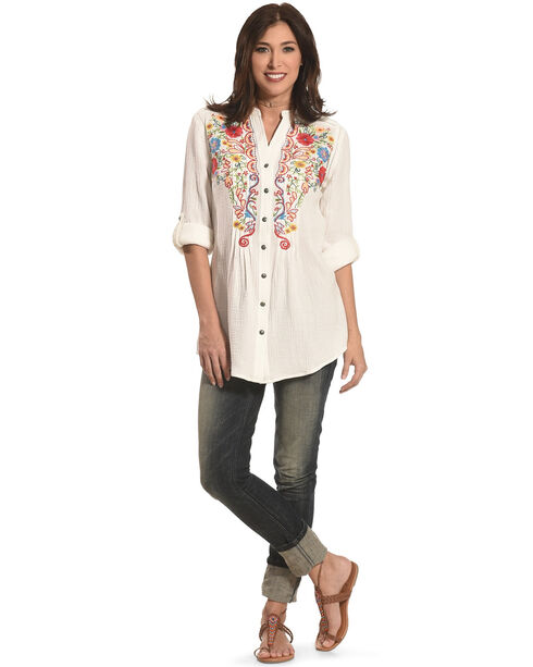 Tasha Polizzi Women's Emmylou Embroidered Shirt , Ivory, hi-res