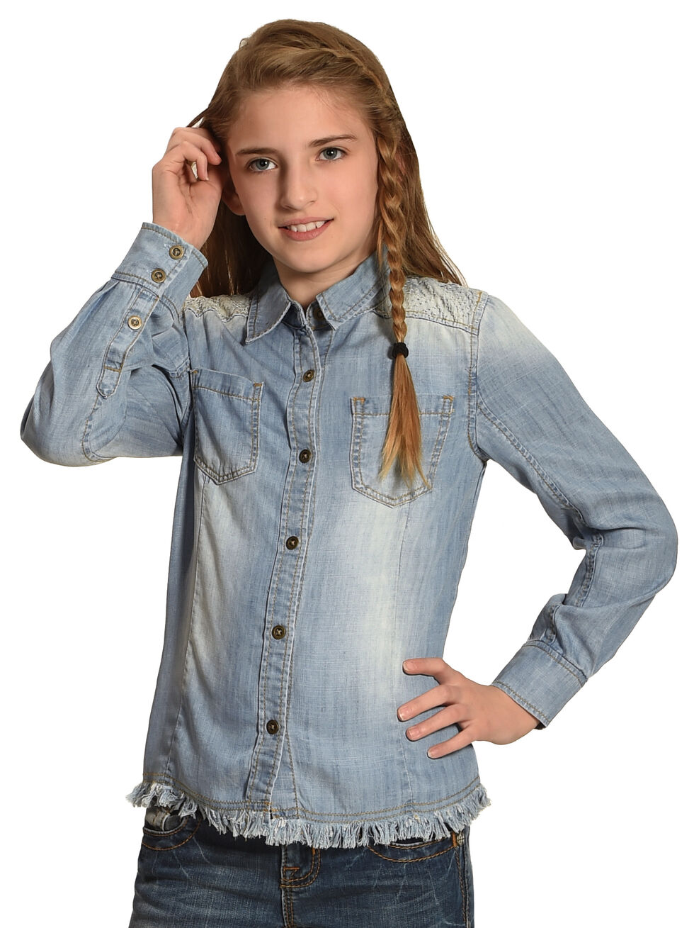 Miss Me Girls' Denim Blues Button-Up Top, Indigo, hi-res