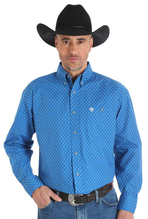 Wrangler George Strait Men's Blue Printed Poplin Button Shirt - Big & Tall, Blue, hi-res